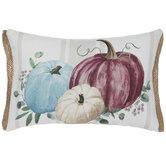 Blue & Purple Pumpkin Cluster Striped Pillow