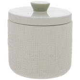 White & Green Textured Canister