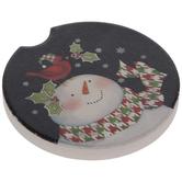 Snowman & Cardinal Car Coaster