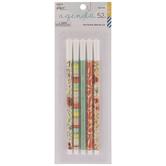 Red, Blue & Beige Floral Fine Tip Pens - 5 Piece Set