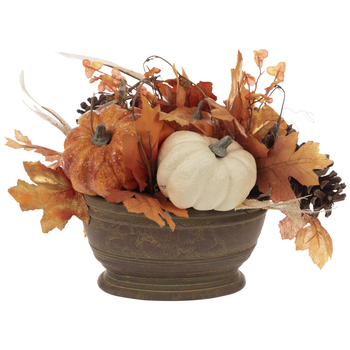 Pumpkin & Leaves In Oval Container