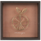 Gold Wire Orange Wood Wall Decor