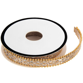 Gold Beaded Edge Snake Print Trim - 1/4""