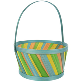 Turquoise Striped Bamboo Easter Basket