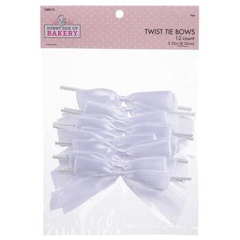 White Satin Bow Twist Ties