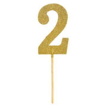 Gold Glitter Number Cake Topper - 2