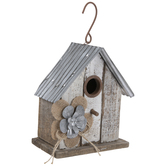 Distressed Flower Wood Birdhouse