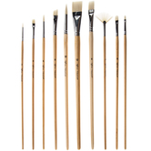 Bone Acrylic & Watercolor Paint Brushes - 10 Piece Set