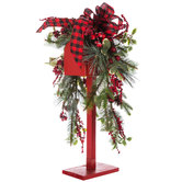 Red Mailbox With Pine & Bow Metal Decor