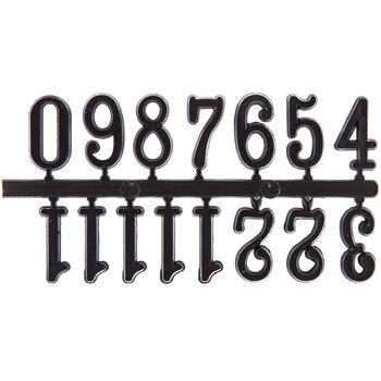Black Adhesive Arabic Clock Numbers - 15mm