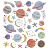 Planets & Stars Gold Foil Stickers