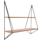 Geometric Double Wood Wall Shelf