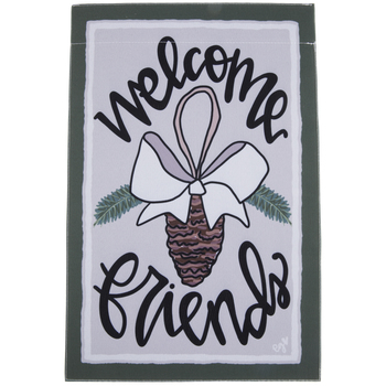 Welcome Friends Pinecone Garden Flag