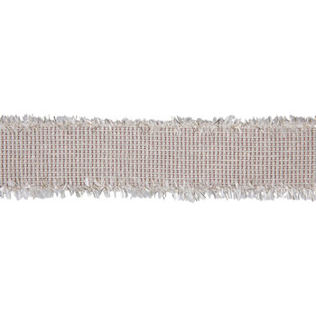 "Cream & Red Frayed Wired Edge Mesh Ribbon - 2 1/2"""