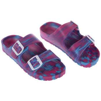 Pink, Blue & Purple Tie Dye Buckle Youth Sandals - Large