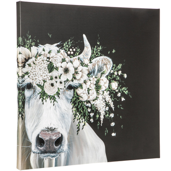 Cow & Flower Crown Canvas Wall Decor