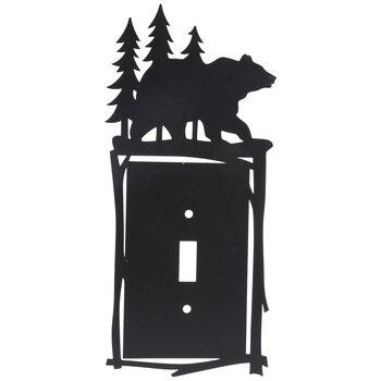 Bear & Trees Metal Single Switch Plate
