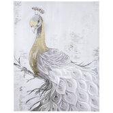 Gold & Gray Peacock Canvas Wall Decor