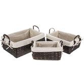Black Wood Basket Set With Lining & Handles