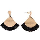Black Fanned Tassel Earrings
