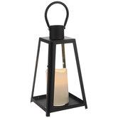 White Candle & Black Pyramid Metal Lantern