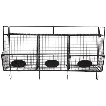 Black Wire Wall Shelf With Baskets