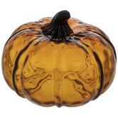 Polka Dot Amber Glass Pumpkin