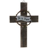 He Is Risen Wood Wall Cross