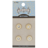 Gold Single Rhinestone Shank Buttons - 11mm
