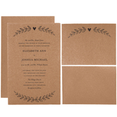 Kraft Leaves Wedding Invitations
