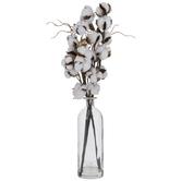 Cotton Stems In Glass Vase