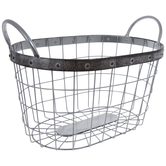 Silver Oval Metal Basket