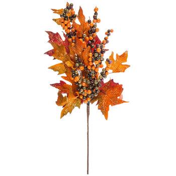 Orange & Red Leaf Stem With Glitter & Berries