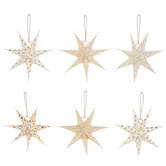 White & Gold Foil Patterned Paper Stars
