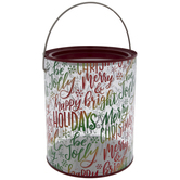 Red & Green Foil Merry Christmas Paint Can