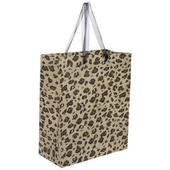Beige & Brown Leopard Print Gift Bag
