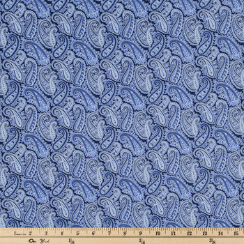 Navy Floral & Paisley Cotton Calico Fabric