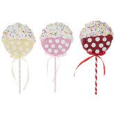 Pink, Yellow & Red Glitter Lollipop Picks