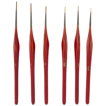 Liner & Spotter Hobby Paint Brushes - 6 Piece Set