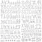 Silver Glitter MozzaRella Alphabet Stickers