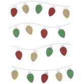 Red, Gold & Green Glitter Bulb Light Stickers