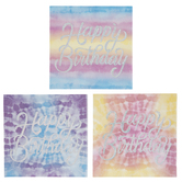 Happy Birthday Tie Dye Napkins - Small