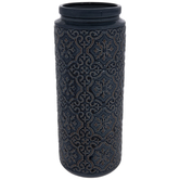 Blue Ornate Cylinder Vase