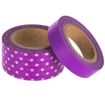 Purple Solid & Polka Dot Washi Tape