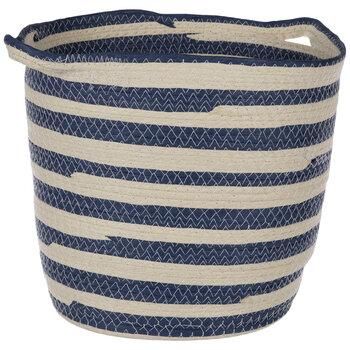 Beige & Blue Striped Basket