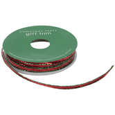 Red & Green Tinsel Wired Edge Ribbon - 3/16""