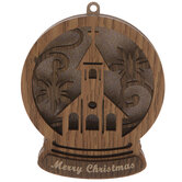 Snowflake Church Snow Globe Ornament