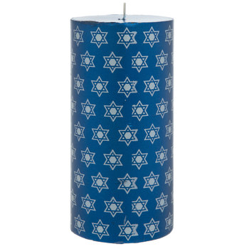 Blue & Silver Star Of David Pillar Candle