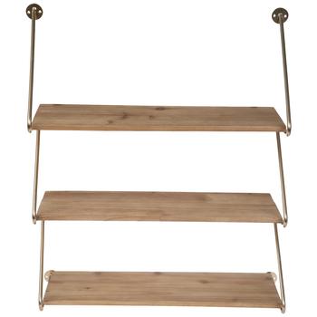 Three-Tiered Zig Zag Wood Wall Shelf