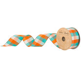 Turquoise & Orange Plaid Wired Edge Ribbon - 1 1/2""